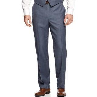 Shaquille O'Neal Big and Tall Flat Front Dress Pants Blue 56 Waist Regular