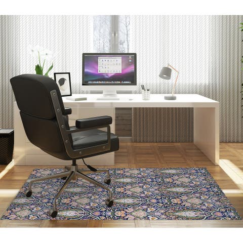 KIRMAN BLUE AND ORANGE AND GREEN Office Mat By Kavka Designs