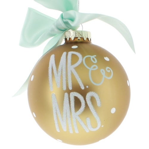Mr and Mrs Gold Ball Ornament