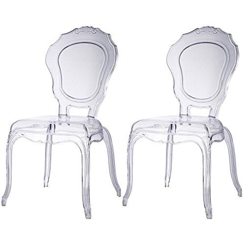 2xhome - Set of Two (2) - Clear - Belle Plastic Art deco Accent Chair Clear Side Chair Arm less