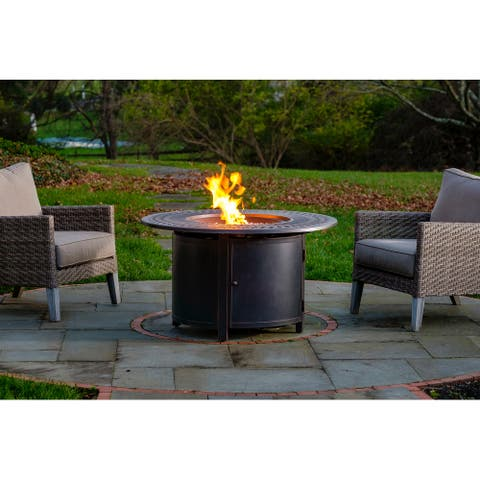 """Walden 44"""" Round Gas Fire Pit Chat Table with Clear Glass Fire Beads - 44"""" Round"""