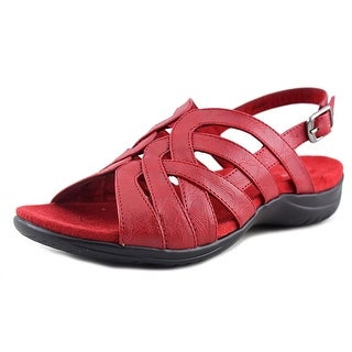 Easy Street Visage Women Open-Toe Leather Red Slingback Sandal