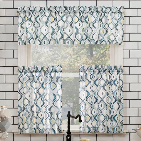 No. 918 Barker Geometric Semi-Sheer Rod Pocket Kitchen Curtain Valance and Tiers Set