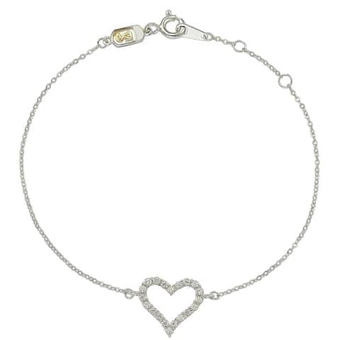 Suzy Levian 14K White Gold & .24 cttw Diamond Heart Solitaire Bracelet