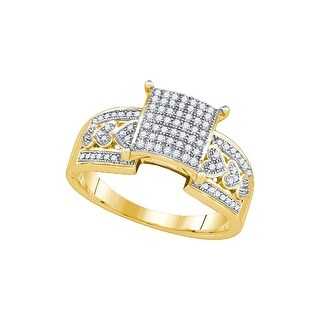 1/3Ctw Diamond Micro-Pave Bridal Engagement Ring 10K Yellow-Gold