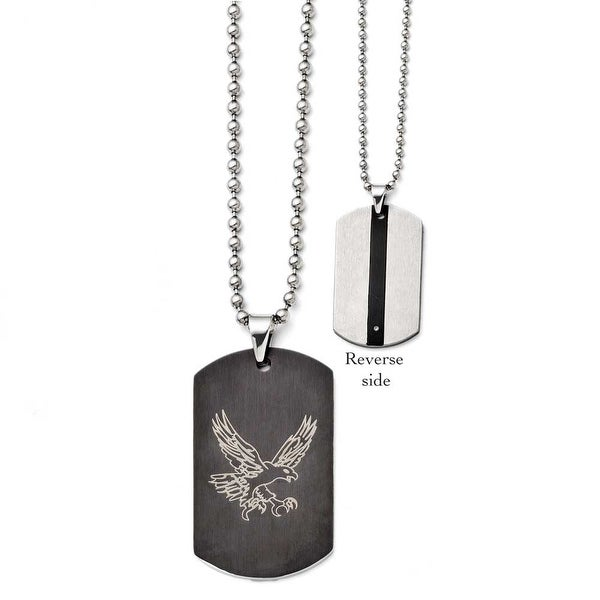 Chisel Stainless Steel Eagle Dogtag Black IP-plated Polished Necklace (3 mm) - 22 in