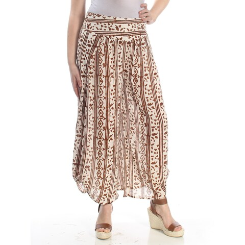 FREE PEOPLE Womens Ivory Printed Elastic Waist Wide Leg Pants Size: M