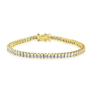 Bling Jewelry CZ Classic Gold Plated Silver Bridal Tennis Bracelet 7.5in
