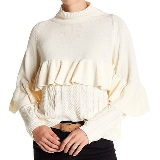 Project Nadaam NEW Ivory Womens Size Small S Mock-Neck Knit Sweater
