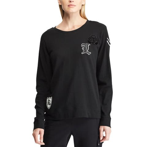 Lauren Lauren Ralph Lauren Womens Embroidery French Terry Pullover X-Large Black