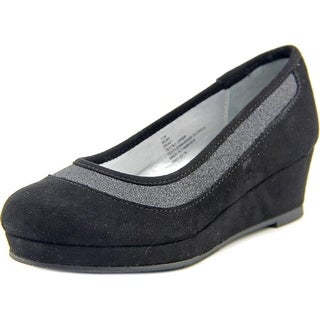 Mia Girl Remy Youth Open Toe Canvas Black Wedge Heel