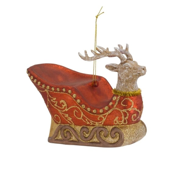Pack of 6 Red and Gold Glittered Reindeer Sleigh Christmas Ornaments