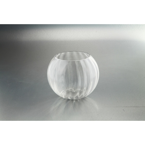 "8"" Clear Glass Bubble Groove Accented Bowl Floating Tealight Candle Holder - N/A"
