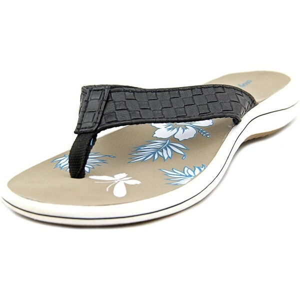 Easy Street Cove Women WW Open Toe Synthetic Black Thong Sandal