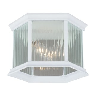 Vaxcel Lighting T0137 Kingston 2 Light Flush Mount Outdoor Ceiling Fixture with Clear Ribbed Glass Shade - 9 Inches Wide