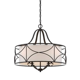 "Designers Fountain 88684-ORB Avara 24"" Wide 2 Light Chandelier with Fabric Shade - Oil Rubbed Bronze"