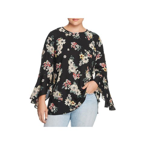 Vince Camuto Womens Plus Blouse Floral Print Flare Sleeves - 2X