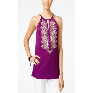 INC Petite Embroidered Keyhole Halter Top, Purple Paradise, Size PL