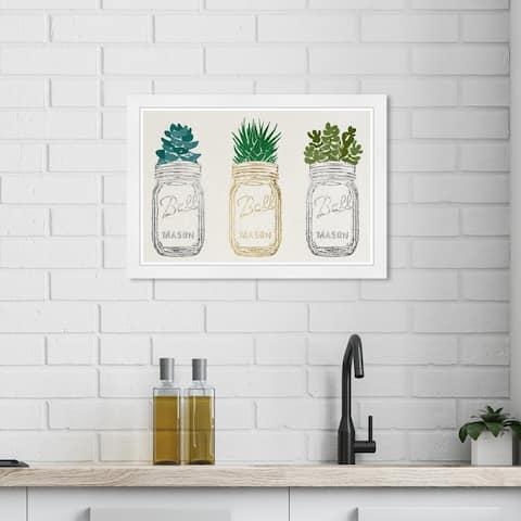 Wynwood Studio 'Mason Jars and Succulents' Floral and Botanical Gold Wall Art Framed Print