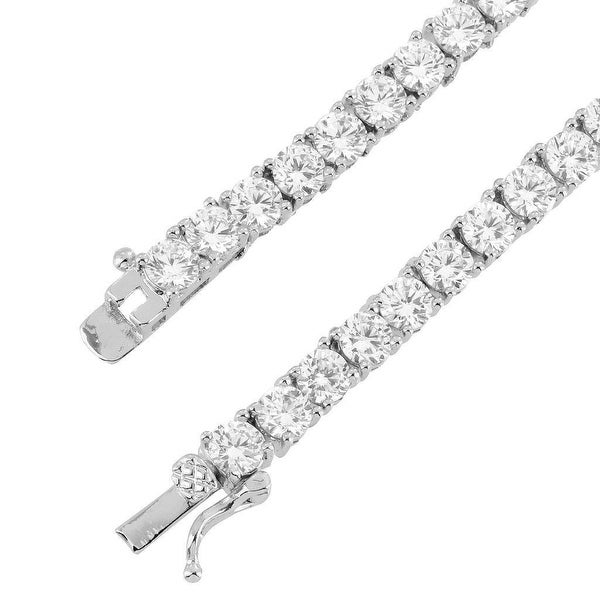 1 Row Tennis Link Necklace 24 Inch Solitaire Lab Diamond 4mm Silver Tone