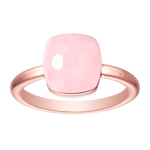 Vedantti Magic Honeycomb Cut Pink Opal Gemstone Angel Solitaire Ring