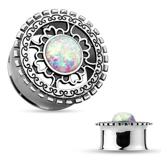 Opal Glitter Antique Silver IP Tribal Shield Top Surgical Steel Flared Tunnel (Sold Ind.)