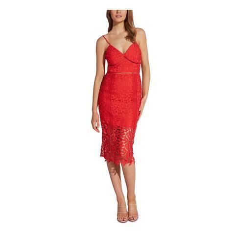 BARDOT Red Spaghetti Strap Below The Knee Dress XS