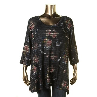Nally & Millie Womens Plus KNit Floral Print Tunic Sweater - 2X