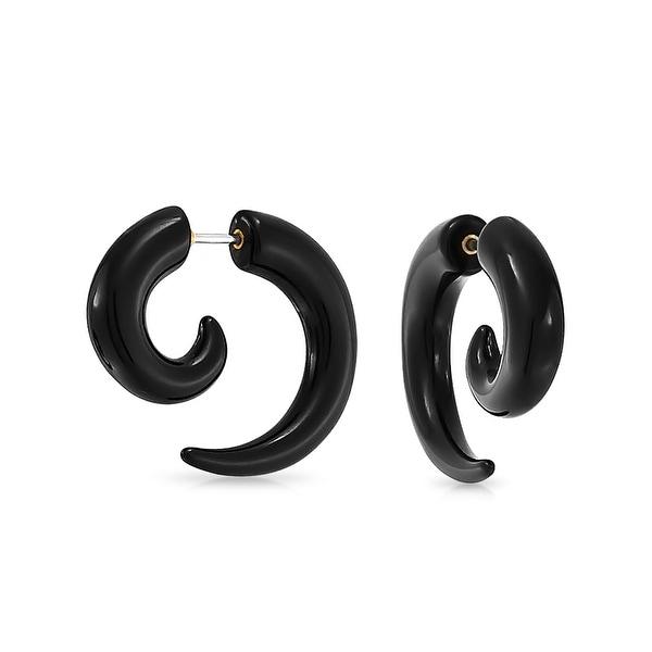 b94715289ac08 Black Round Spiral Fake Faux Ear Plug Taper Surgical Steel Earrings