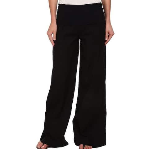 XCVI Jet Black Womens Size XS Foldover Wide Leg Pull On Swooping Pants