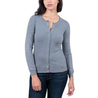 Real Cashmere Grey Crewneck Cardigan Womens Sweater
