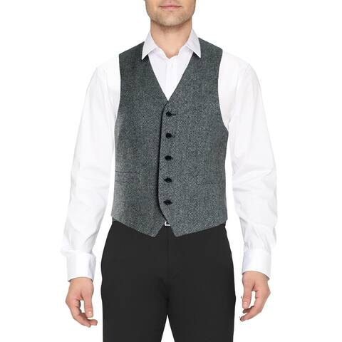 Lauren Ralph Lauren Mens Suit Vest Wool Houndstooth - Black/White