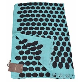 New Gucci Women's 367220 Turquoise Black Polka Dot GG Guccissima Modal Scarf