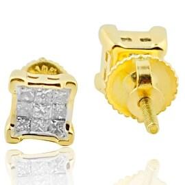 Princess Cut Diamond Stud Earring for Men or Women 10k Gold 1/4cttw By MidwestJewellery - White