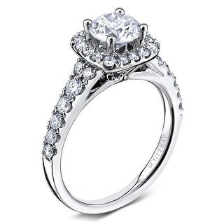 14kt White Gold Ladies 0.46CT Semi Cushion Halo Mounting from the Luminaire Collection by Scott Kay
