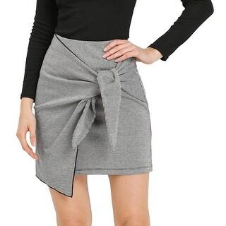 Link to Allegra K Women's Houndstooth Tie Waist Straight Work Wrap Mini Skirt - White Black Similar Items in Skirts