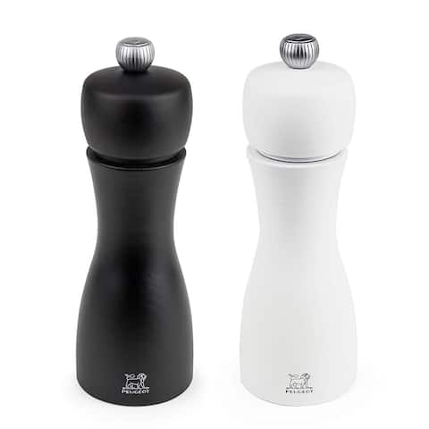 Peugeot 2/24260 Tahiti 6 Inch Black Pepper Mill and White Salt Mill Set - Black & White
