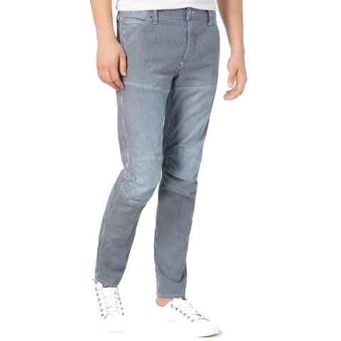 G-Star Raw Mens Jeans Blue White Size 31x32 Slim-Fit Striped Stretch