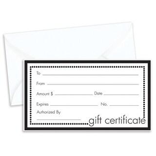 Black & White Gift Certificate 100 Certificates w/ White Envelopes