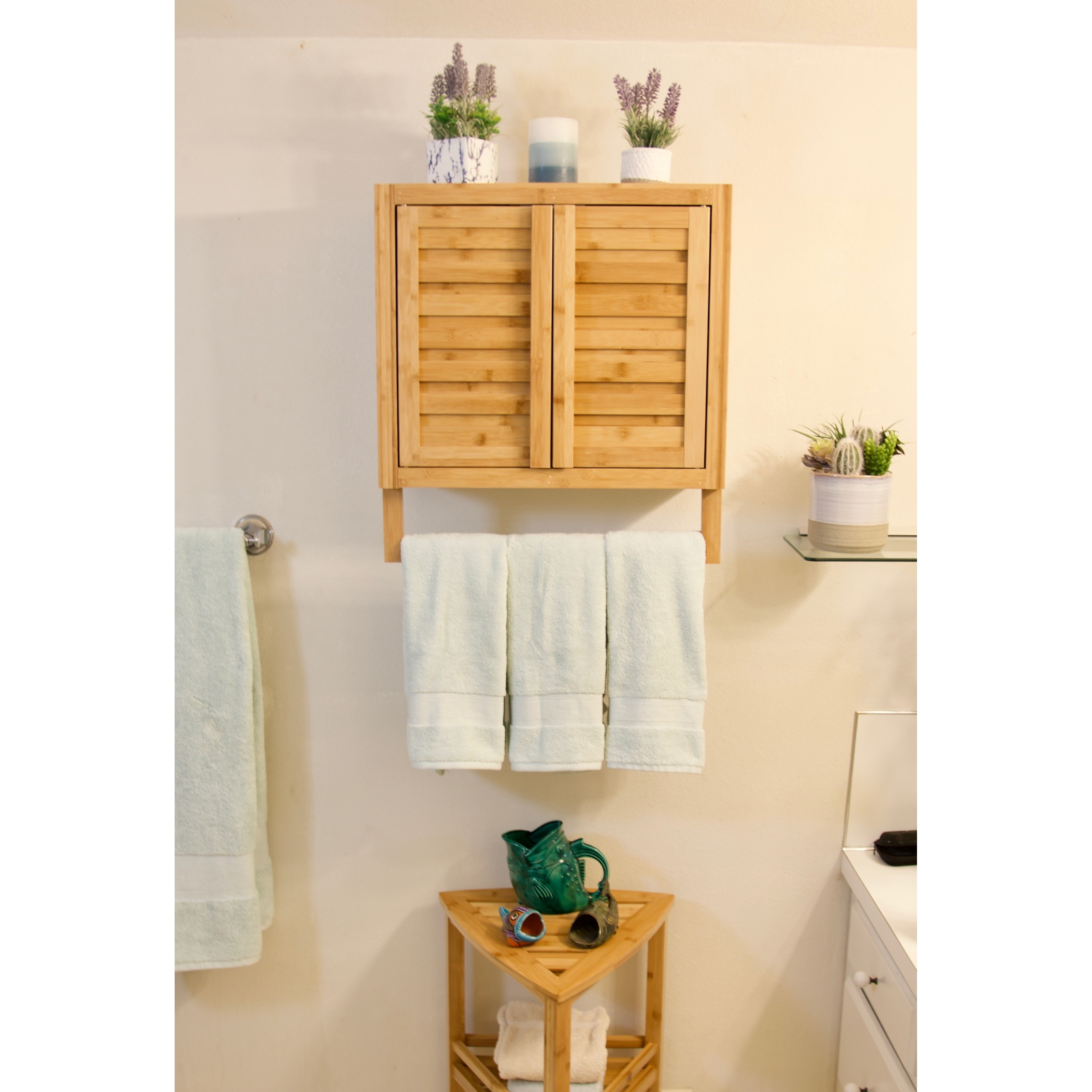 Porch Den Burning Tree Solid Bamboo 2 Door Wall Mount Spa Cabinet On Sale Overstock 31060539