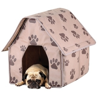 Paw Print Tan Dog and Cat Pet House - Indoor Covered Sleep Spot and Mat - Portable and Folding