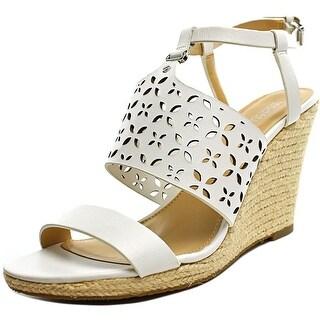 Michael Michael Kors Darci Women Open Toe Leather White Wedge Heel