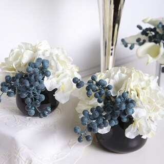 G Home Collection Luxury White Hydrangea and Berry in Black Vase (Set of 2) - Blue