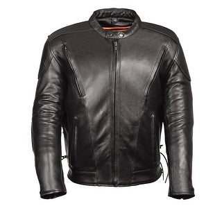 Premium Black Leather Mens Vented Scooter Jacket
