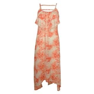 Miken Women's Flounce Tie-Dye Dress Swin Cover ups - peach