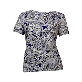 JM Collection Women's Short Sleeves Jacquard Jersey Top - XxL