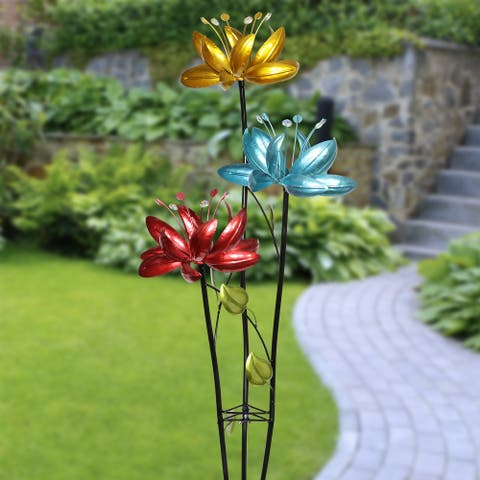 Exhart Flower Wind Spinner Garden Stake with Three Metallic Flowers, 17 by 53 Inches