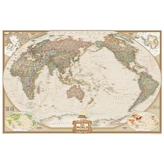 World Executive - Pacific Centered - Enlarged And Laminated Map