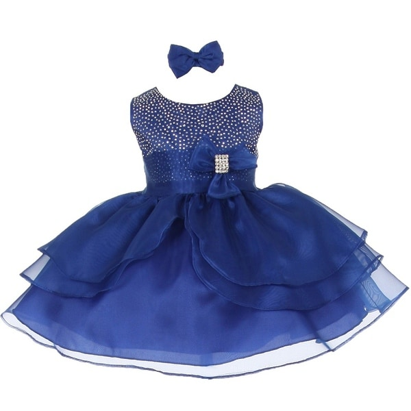 Baby Girls Royal Blue Rhinestuds Bow Sash Flower Girl Headband Dress 3-24M