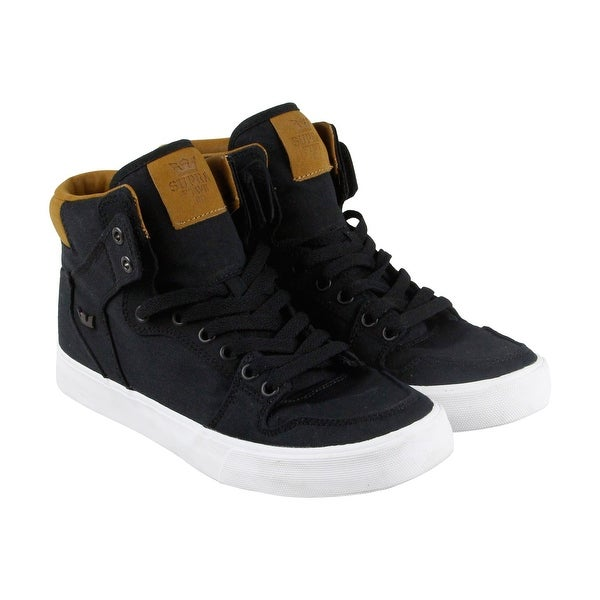 f7d0a9203f23 Shop Supra Vaider Mens Black Suede High Top Lace Up Sneakers Shoes ...